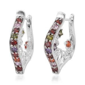 KARIS Collection - Simulated Multi Gemstone Platinum Bond Brass Earrings TGW 3.10 cts.