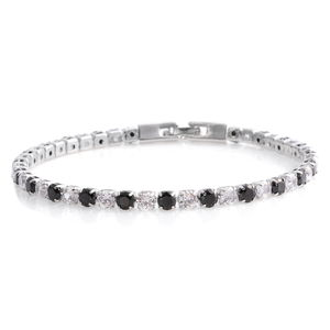 Simulated Black and White Diamond Silvertone Tennis Bracelet (8.00 In) TGW 7.92 cts.