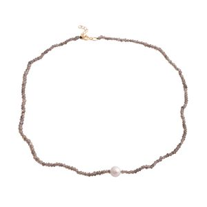 Brazilian Smoky Quartz, Freshwater Pearl 14K YG Over Sterling Silver Necklace (18 in) TGW 70.00 cts.