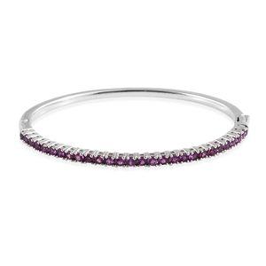 Purple Garnet Platinum Over Sterling Silver Bangle (7.25 in) TGW 4.30 cts.