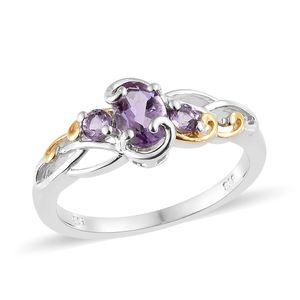 Rose De France Amethyst Vermeil YG & Platinum Over Sterling Silver Ring (Size 7.0) TGW 0.95 cts.