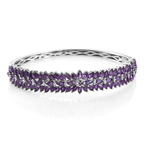Amethyst Platinum Over Sterling Silver Bangle (7.25 in) TGW 11.10 cts.