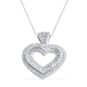 10K White Gold Diamond Pendant without Chain TDiaWt 0.50 cts, TGW 0.50 cts.