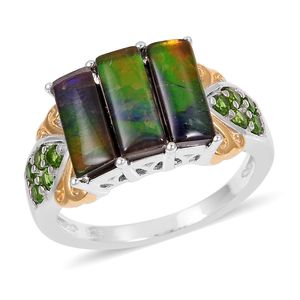 Canadian Ammolite, Russian Diopside 14K YG and Platinum Over Sterling Silver Ring (Size 11.0) TGW 3.85 cts.