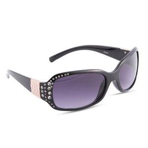 Solar X Eyewear - Black Rhinestone Sunglasses
