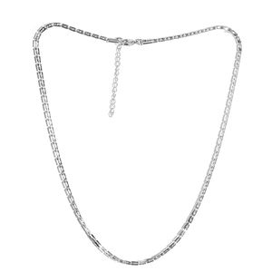 Stainless Steel Square Rolo Chain Necklace (20 in)