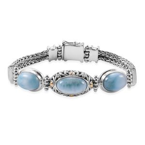 Bali Legacy Collection Larimar Sterling Silver Bracelet (7.50 In) TGW 23.40 cts.