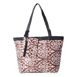 d1e10cae42 Brown and Beige Damask Satin Black Trimmed Tote Bag (15.5x4.5x10 in)