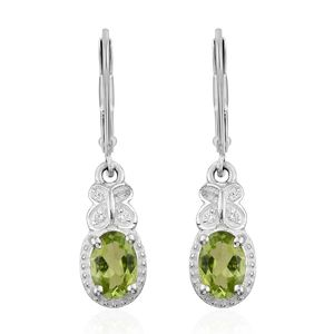 Hebei Peridot, Simulated Diamond Sterling Silver Earrings TGW 1.60 cts.