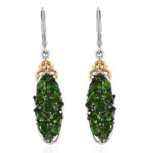 Russian Diopside Vermeil YG & Platinum Over Sterling Silver Earrings TGW 4.84 cts.