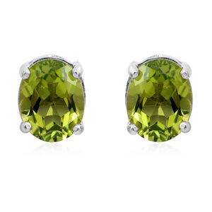 Hebei Peridot Platinum Over Sterling Silver Stud Earrings TGW 3.92 cts.