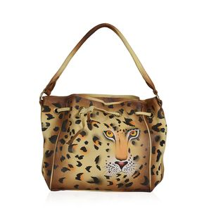 Brown Leopard Hand Painted Hobo Drawstring Bag (18x11.15x5.75 in, Genuine Leather)