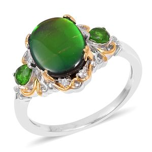 Canadian Ammolite, Multi Gemstone 14K YG & Platinum Over Sterling Silver Ring (Size 11.0) TGW 3.15 cts.