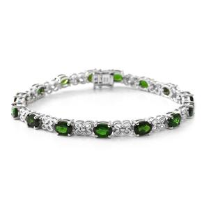 Russian Diopside Platinum Over Sterling Silver Floral Station Bracelet (7.25 In) TGW 11.96 cts.