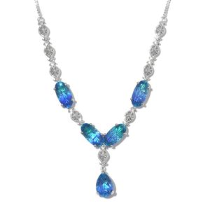 Indian Ocean Quartz Platinum Over Sterling Silver Floral Necklace (18-20 in) TGW 28.52 cts.