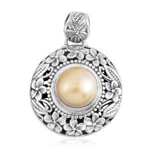 Bali Legacy Collection South Sea Golden Pearl Sterling Silver Floral Pendant without Chain TGW 7.00 cts.