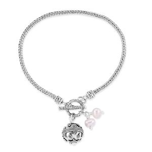 Bali Legacy Collection Freshwater Pearl Sterling Silver Bracelet (8.00 In)