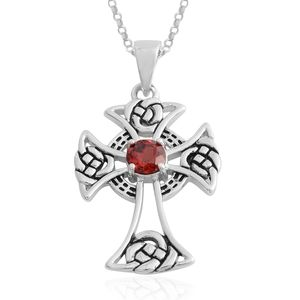 Indian Garnet Sterling Silver Cross Pendant With Rolo Chain (18 in) TGW 0.73 cts.