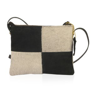 Gray and Black Genuine Vintage Leather Block Pattern Crossbody Bag (8x6.5 in ) 08763c98745db