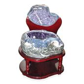 Home and Office Decor Uruguayan Amethyst Geode on Wooden Stand (118 lbs)