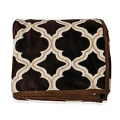 Home Textiles Brown Microfiber Flannel Blanket with White Quatrefoil Pattern