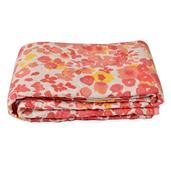 White and Coral Floral Print Microfiber Quilt Throw (50x60 in)