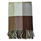 Super Cozy and Warm Classic Brown Plaid Cashmere-Like 100% Polyester Throw (51x63 in)