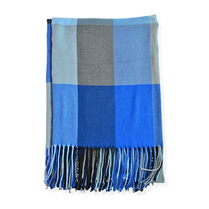 Super Cozy and Warm Classic Blue Plaid Cashmere-Like 100% Polyester Throw (51x63 in)