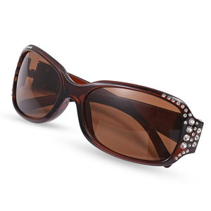 STRADA Japanese Movement Stainless Steel Back Studded Watch with Brown Faux Leather Band and Matching UV400 Rhinestone Women Sunglasses